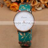 Fashion flower printed women watch, leather watch bracelet                                                                         Quality Choice