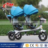 2016 cool kids double seat tricycle / cheap children tricycle for twins / two baby tricycle with canopy