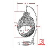 Outdoor Patio Garden Rattan Hanging Egg basket Swing Chair with Metal Stand