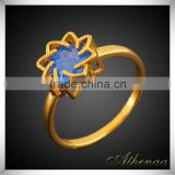 Free Shipping Beautiful Blue Diamond Fashion Jewelry Flower Shape Brass Single Stone Ring Designs