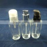 clear liquid foundation glass bottle with pump, cosmetic bottle