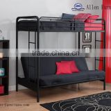 Hot sale home furniture cheap Metal Twin over Futon Full Bunk Bed, black
