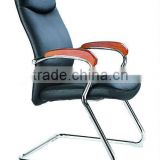 breath black leather conference chair with wood armrest AB-169A