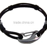Make leather mens braided rope bracelets with steel carabiner,personalized leather braided bracelets