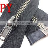 Auto lock light black nickel metal zippers with custom zipper pull