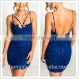 Hot Girl Sexy Blue Crochet Lace Strappy Night Club Dress HSD2066