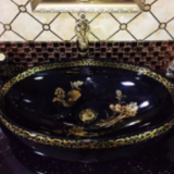 Standard size ceramic factory fancy black color oval no hole basin product bathroom sanitary ware