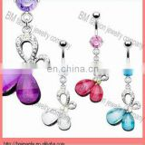 new fashion body jewelry crystal butterfly design dangle belly button rings piercing