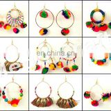 Moon Style Earrings Pom Pom Earrings-Chandbali Earrings-Indian Earrings- Indian Trendy Fashion Jewelry-Colorful Earrings