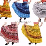 Hippie Boho Gypsy Batik Cotton Wrap Around Skirt Dress Wholesale Indian Cotton Designer Printed Animals Wraparound Women