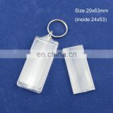 promotional clear custom blank souvenir plastic photo frame key chain