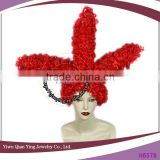 red new design chicken claw shaped Woman Synthetic hair carnival wig