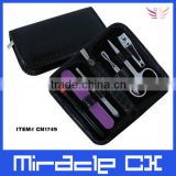 Black PVC bag lip brush nail buffer manicure set