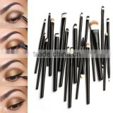 Lipstick, lip liner, eyeshadow, eyeliner, blusher, eyebrow pencil used with and face use makeup brush set