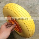 hand cart pu foam wheel 4.00-6 yellow color pu tire 400-6