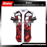 2016 wholesale button up baseball shirt,sublimation baseball shirt,custom baseball t shirt