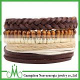 Men brown bracelet with handmade wood bead bracelet adjustable leather bracelet jewellery