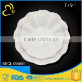 high quality wave shaped white plate melamine hotel tableware