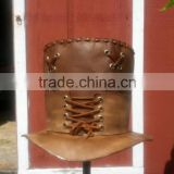 2015 FASHION STYLISH BROWN LACES TOP HAT GENUINE LEATHER TOP HAT FOR MENS
