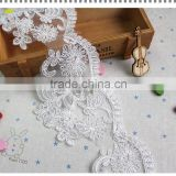 discount cheap 100% polyester embroidered patches cord lace trims Wholesale /wedding dress chemical embroidery lace