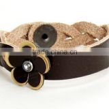 Beautiful Braid Dark Brown Leather Bracelet Stainless Steel Clasp Lovely Flover Handmade Women Leather Bangle with High Quality