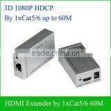 3D HDMI Extender 60m by single UTP Cat6 CAT5e x 1 Cable Extend HDTV up To 60Meters For 1080P Transmitter and Receiver