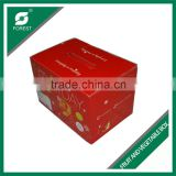 HIGH QUALITY FOLDED CORRUGATED FRUITS PACKING CARTONS PAPER BOX WITH RED PLASTICE HANDLES