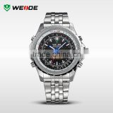 2014 WEIDE Luxury Brand Analog Digital LED Men Full Steel Watch Date Day Alarm Outdoor Men Sports Watches Men Quartz clock WH904