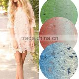 New cord lace fabrics for girls dress chemical embroidery lace fabric and cotton prefessional
