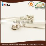 silver metal zipper slider with long bar puller for sports wear