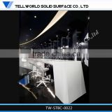 Pure white solid surface artistic shape restaurant bar counter tops/bar counter designs for restaurant