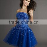 RZ-ed030 2012 Latest strapless beaded satin and tulle royal blue plus size cocktail dress