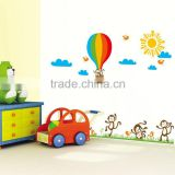 "New 140x100 (55""x40"") Air Balloon Monkey Wall Stickers Animals Home Decoration Kids DIY Quality SGS Removable PVC JM7121"
