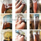 2016 new gadgets secreted wooden rings with miniature landscapes