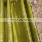 Bright Green Color 100% Polyester Faux Silk Flower Foil Printed Curtain Panel Drapes Drapery
