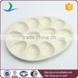 New product beige oval crackle glaze ceramic egg tray holder