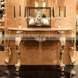 Classical Gilt Gold Leaf Hallway Console Table With Drawers, Exquisite Wood Carved Furniture Queen Anne Living Room Side Table
