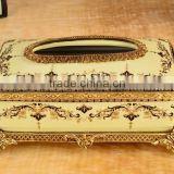 Luxury royal home appliance yellow color flower painting ceramic and brass decorative tissue box