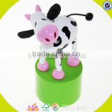 Wholesale cute design wooden thumb toy fashion cows shape kids wooden animal toy lovely baby wooden animal toy W06D068