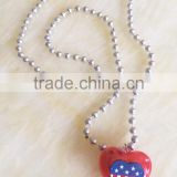 4th of july light up custom pedant USA flag printed plastic heart beads led flashing necklace for independence day party