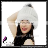 CX-C-239E New Arrive Luxury Top Quality Baggy Mink Fur Hat With Top Fur Ball Beret Beanie Hat Cap