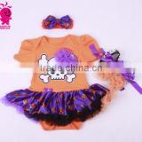 Helloween new fashion 3pcs skull princess short sleeve romper sets including romper,headband and shoes