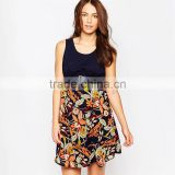 Sexy maternity contrast floral skater dress maternity wear
