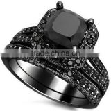 Self-designed brass/sterling silver micro paved jewelry black diamond ring set for men and women