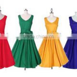 hot sale vest high waist knee length women dresses 50s vintage hepburn styles rockabilly dress pure color fashion dress