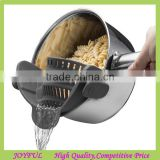 Clip-On Silicone Pot Strainer, Slip-On Pour Spout,SNAP On STRAIN No-Hands No-Fuss Colander