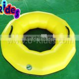 Round Yellow Inflatable Swimming Ring With Black Streak