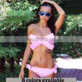 Swimwear Brazilian Bikini Big Bow Bandeau Beach Wear Halter Swimsuit Push Up Bathing Suit