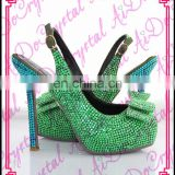 Aidocrystal handmade green with bow closed toe diamond crystal women slingback high heel shoes for bridal wedding