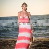 Latest Collection Multicolor Dyed Rayon Maxi Dress With Deep V Neck And Lace Up Back Detail